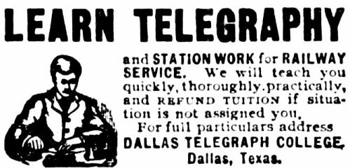 dallas_telegraph_college_ad_1904