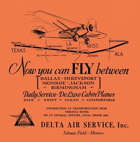 Delta passenger service ad ca. September 1929.