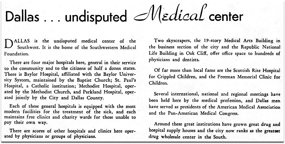 Medical Centers_so This Is Dallas_ca 1946 Text