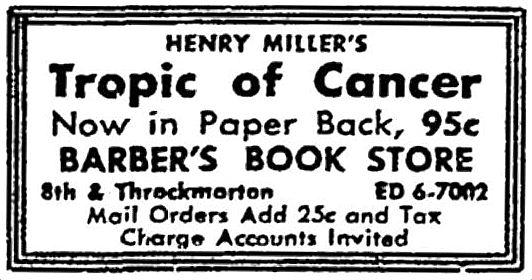 tropic of cancer miller pdf