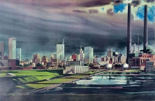 bearden_dallas-skyline-late-afternoon-from-stemmons-freeway_litho_1959
