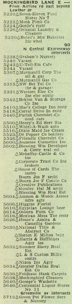 mockingbird_central-to-greenville_1957-directory