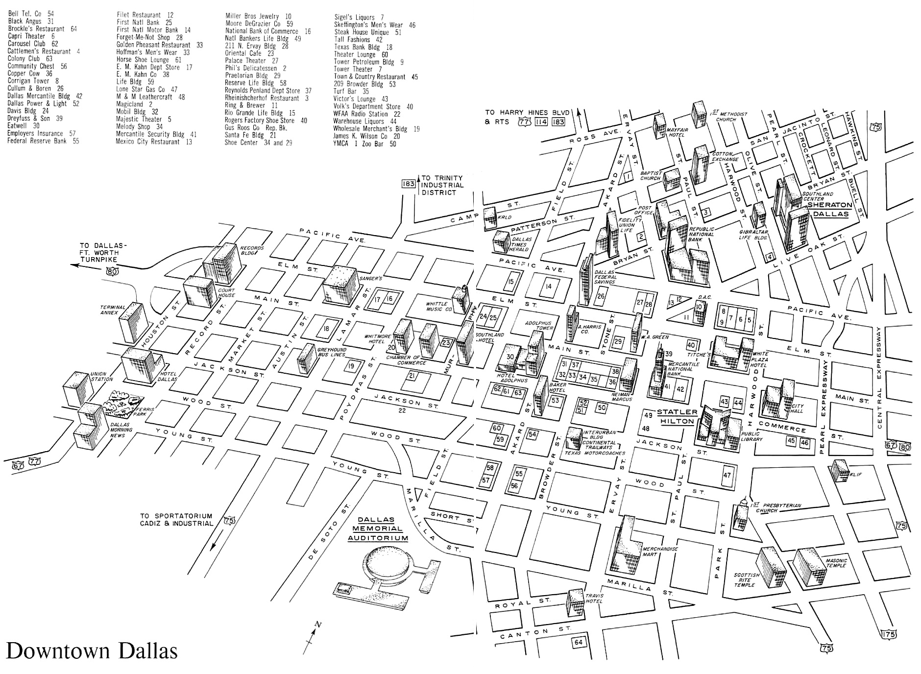 downtown dallas map pdf Map Of Downtown Dallas For The Curious Conventioneer 1962 downtown dallas map pdf