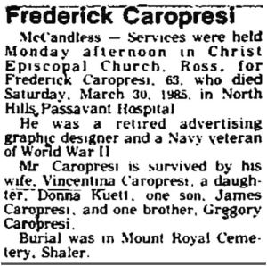 caropresi_news-record_north-hills-pennsylvania_040285_OBIT