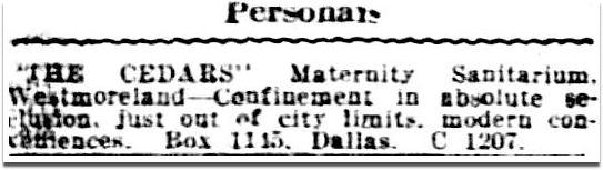 "The Cedars"" Maternity Sanitarium, Oak Cliff — ca  1923-1944"