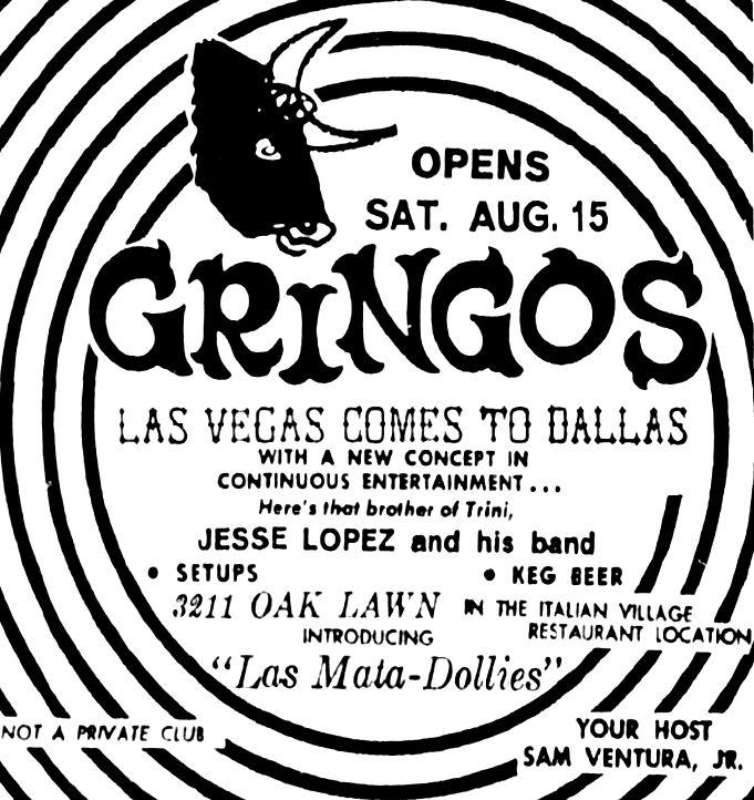 clubs flashback dallas 1920 Party Names 1964 gringos aug 1964